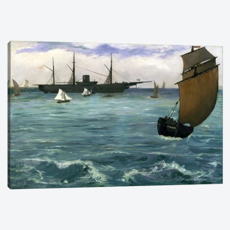 The Kearsarge at Boulogne Canvas Print #8022} by Edouard Manet Canvas Artwork