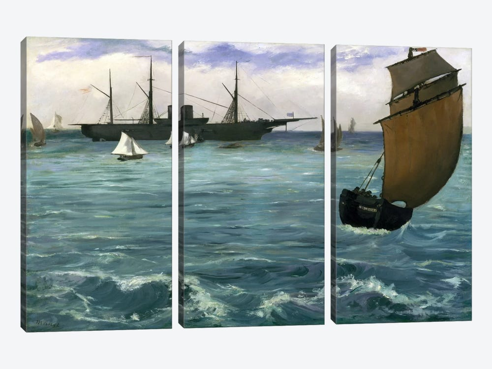 The Kearsarge at Boulogne by Edouard Manet 3-piece Canvas Print
