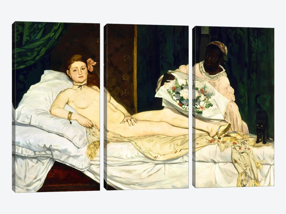 Olympia by Edouard Manet 3-piece Canvas Art