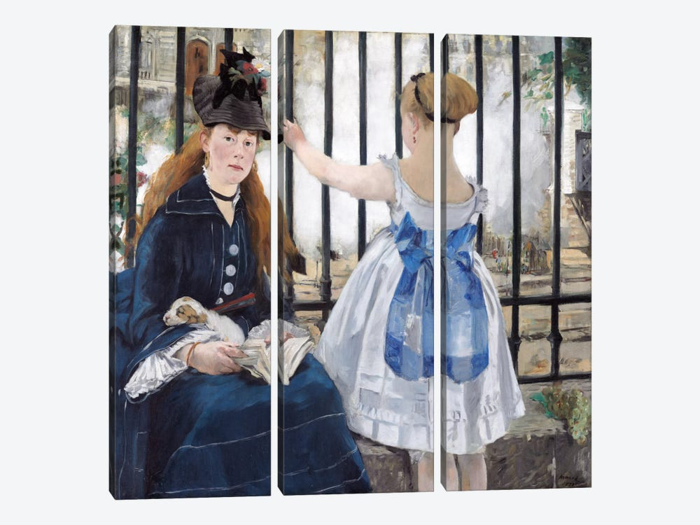 The Railway by Edouard Manet 3-piece Canvas Artwork
