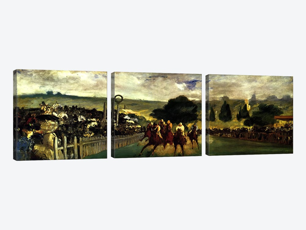 Races at Longchamp by Edouard Manet 3-piece Canvas Wall Art
