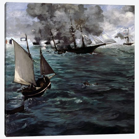 The Battle of The USS Kearsarge & CSS Alabama Canvas Print #8049} by Edouard Manet Canvas Artwork