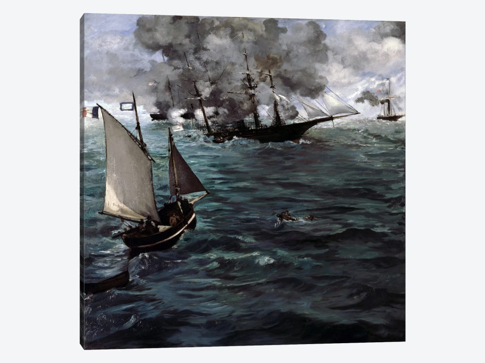 The Battle of The USS Kearsarge & CSS Alabama 1-piece Canvas Artwork