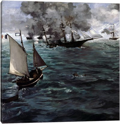 The Battle of The USS Kearsarge & CSS Alabama Canvas Art Print
