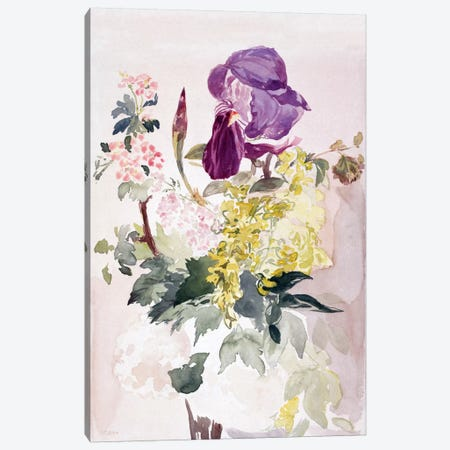 Flower Piece with Iris, Laburnum, and Geranium Canvas Print #8051} by Edouard Manet Canvas Print
