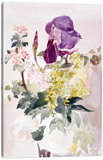 Flower Piece with Iris, Laburnum, and Geranium Canvas Art Print