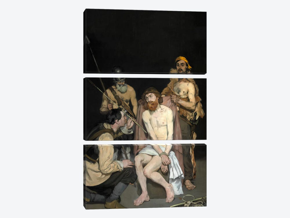 Jesus Mocked By The Soldiers by Edouard Manet 3-piece Canvas Art Print