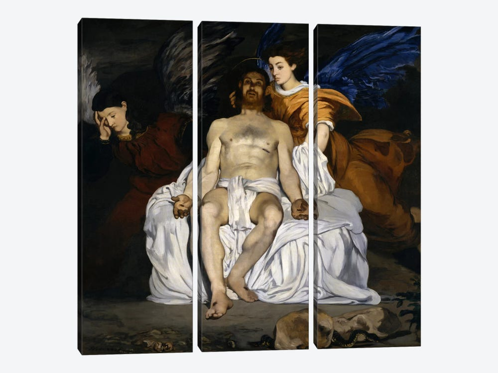 The Dead Christ with Angels by Edouard Manet 3-piece Canvas Wall Art