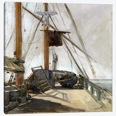 The Ship's Deck Canvas Print #8061} by Edouard Manet Canvas Artwork