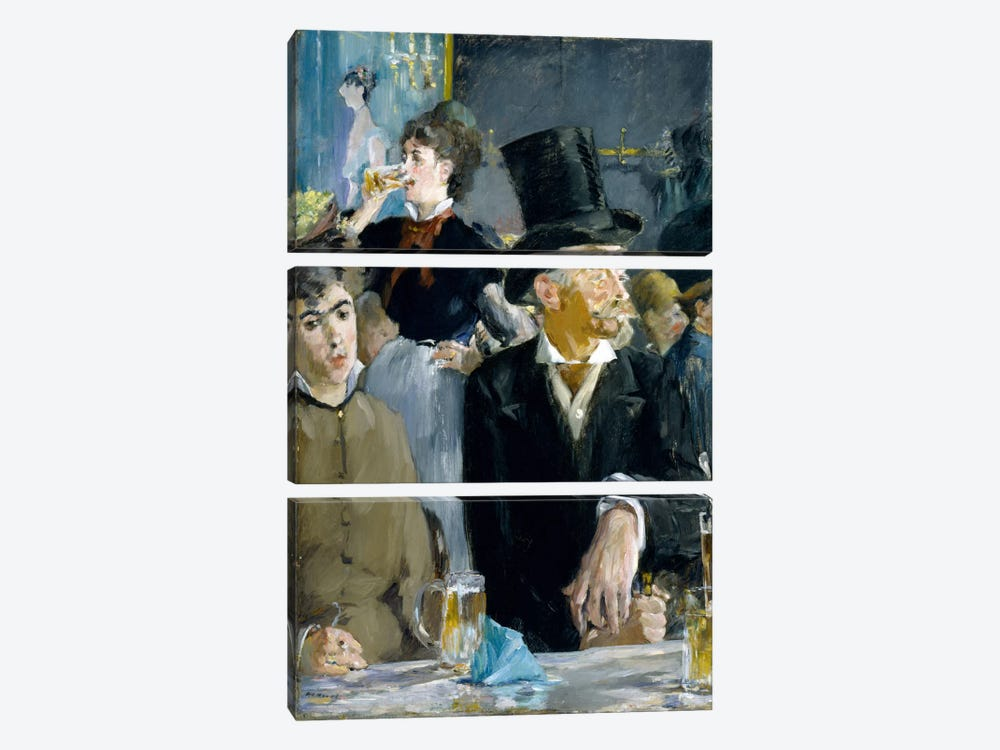 At The Café by Edouard Manet 3-piece Canvas Print