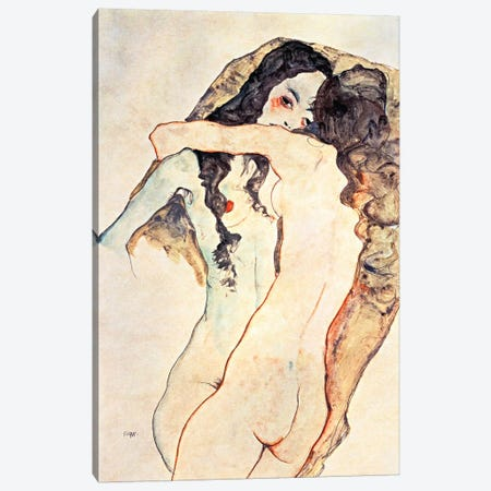 Two Women Embracing II Canvas Print #8083} by Egon Schiele Canvas Art