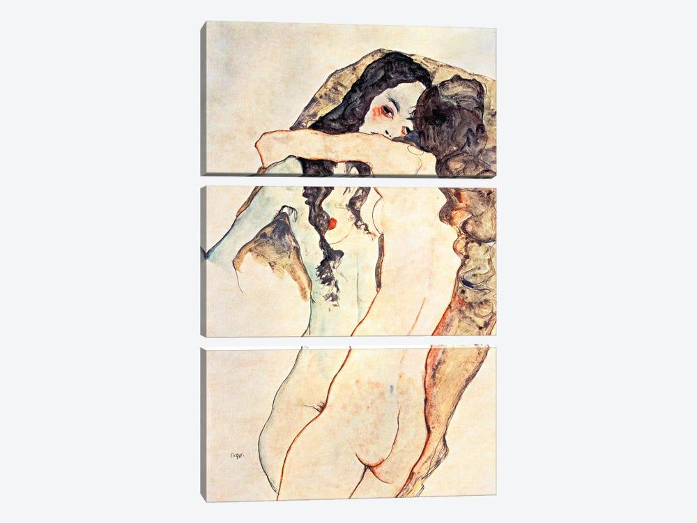 Two Women Embracing II by Egon Schiele 3-piece Canvas Art