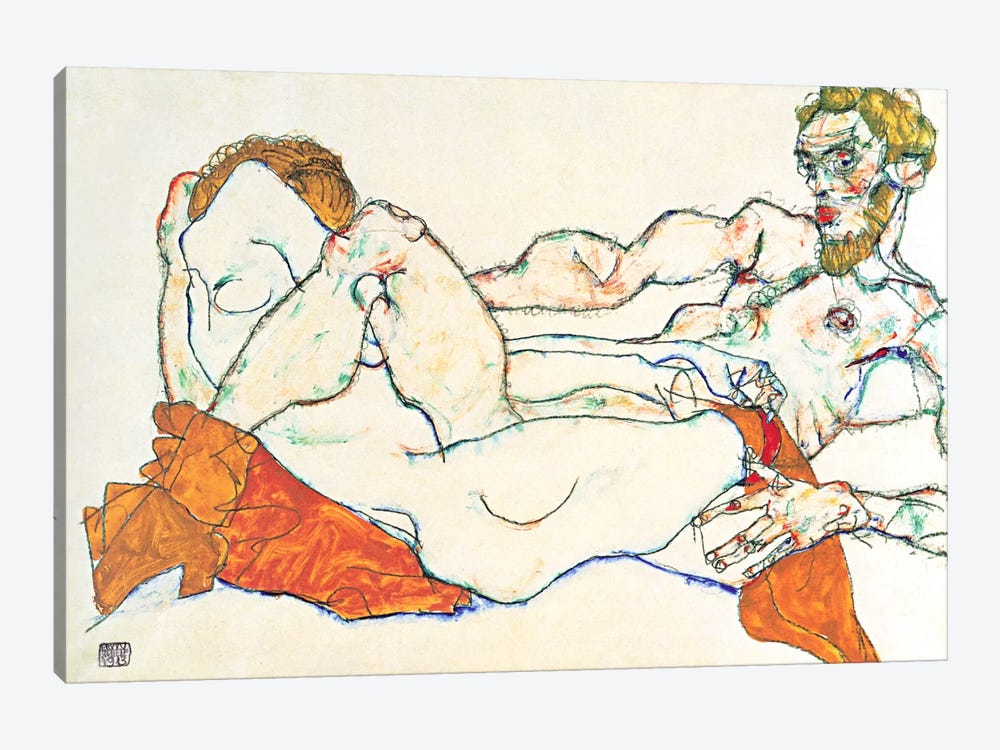 Lovers by Egon Schiele 1-piece Canvas Art Print