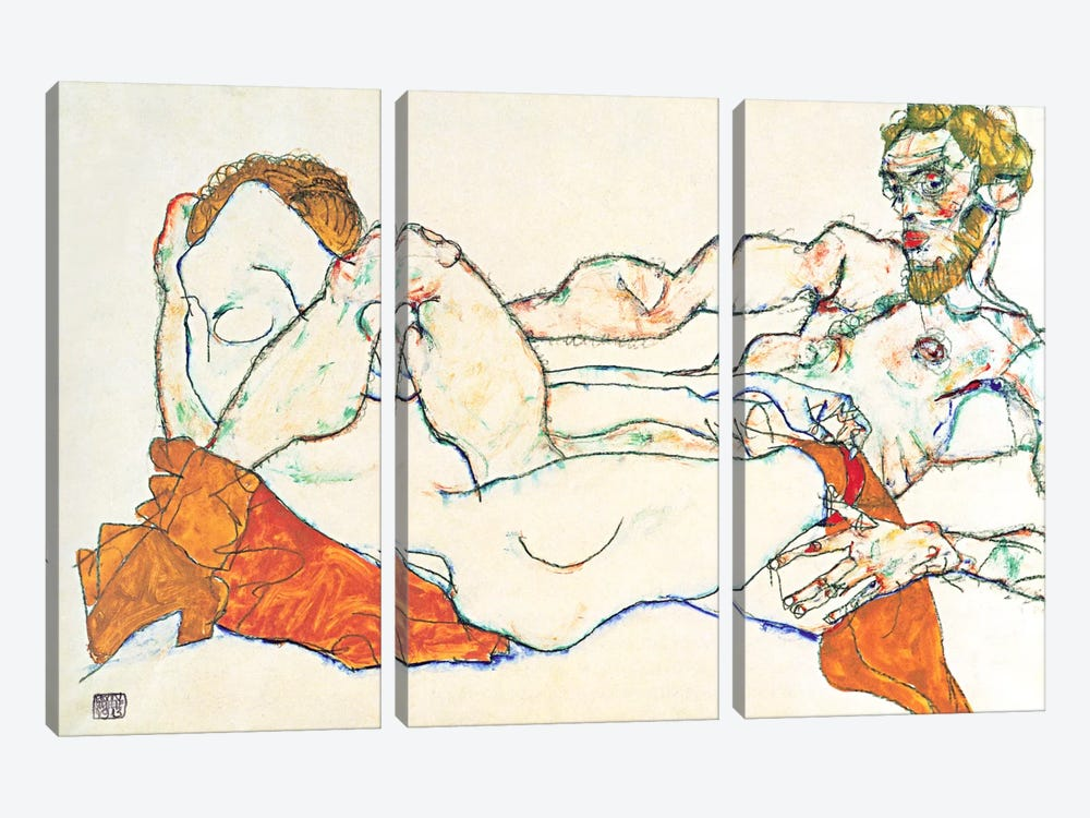 Lovers by Egon Schiele 3-piece Art Print