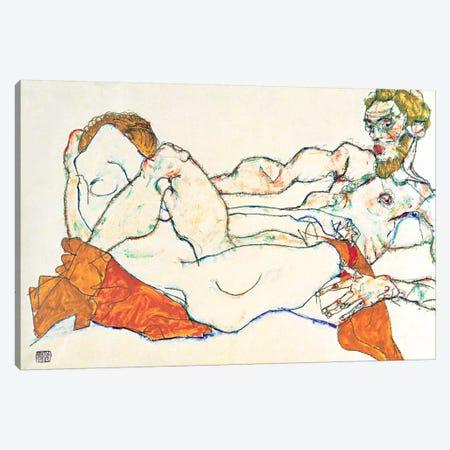 Lovers Canvas Print #8093} by Egon Schiele Canvas Art Print
