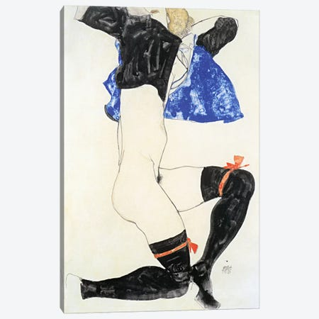 Semi-nude in Black Stockings and Red Garter Canvas Print #8095} by Egon Schiele Canvas Artwork