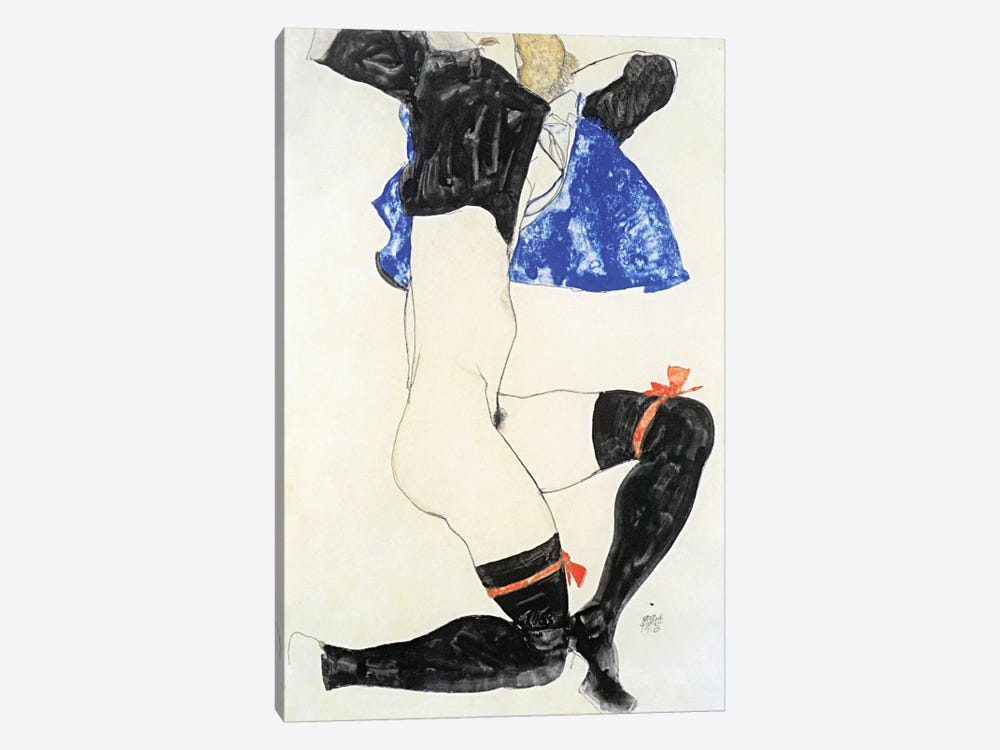Semi-nude in Black Stockings and Red Garter by Egon Schiele 1-piece Canvas Print