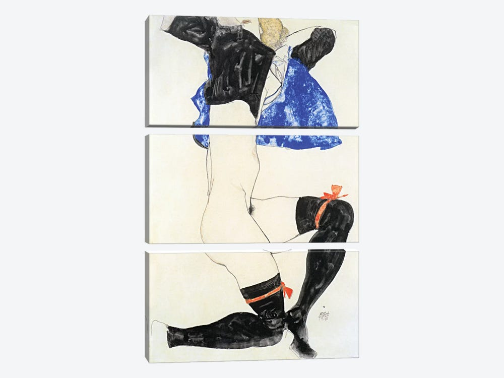 Semi-nude in Black Stockings and Red Garter by Egon Schiele 3-piece Canvas Print