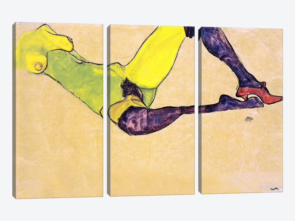 Reclining Female Nude with Violet Stockings by Egon Schiele 3-piece Canvas Art Print