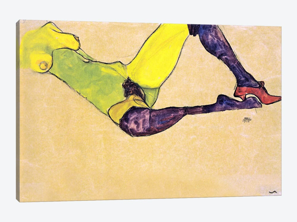 Reclining Female Nude with Violet Stockings by Egon Schiele 1-piece Canvas Art Print