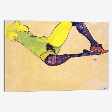Reclining Female Nude with Violet Stockings Canvas Print #8097} by Egon Schiele Canvas Art