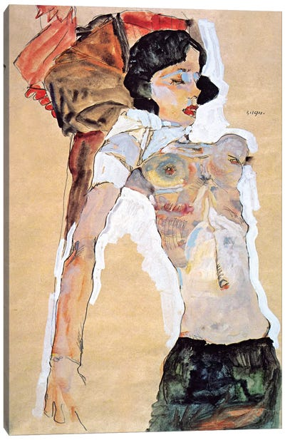 Lying Half-naked Woman Canvas Art Print