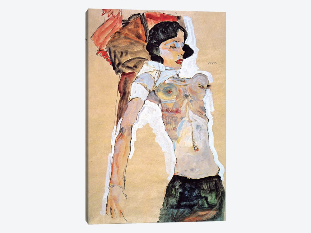 Lying Half-naked Woman by Egon Schiele 1-piece Canvas Art