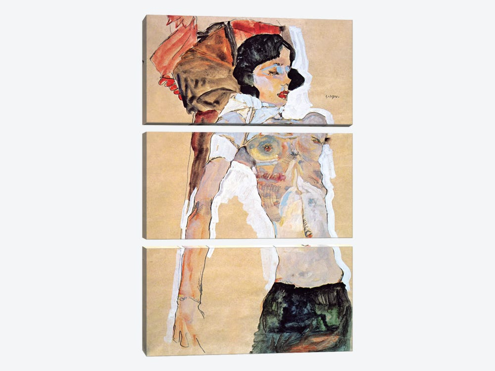 Lying Half-naked Woman by Egon Schiele 3-piece Canvas Art