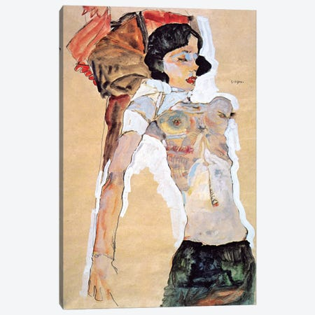 Lying Half-naked Woman Canvas Print #8098} by Egon Schiele Art Print