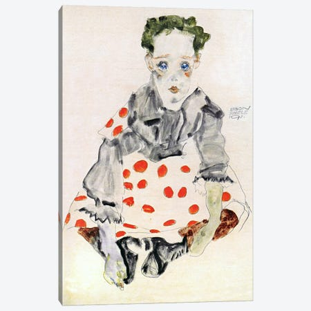 Girl in The Spotted Dress Canvas Print #8099} by Egon Schiele Canvas Art Print
