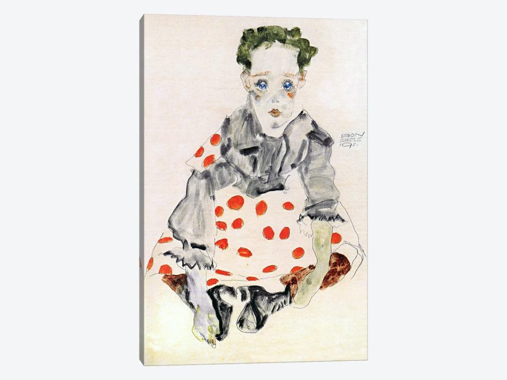 Girl in The Spotted Dress by Egon Schiele 1-piece Art Print