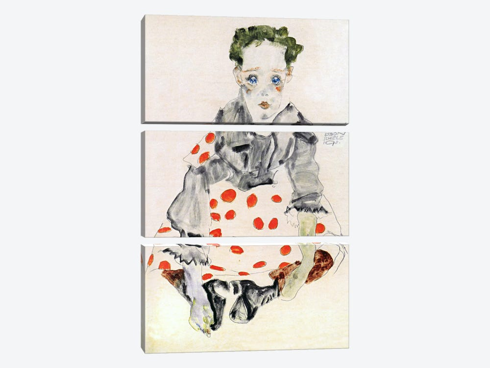 Girl in The Spotted Dress by Egon Schiele 3-piece Canvas Art Print