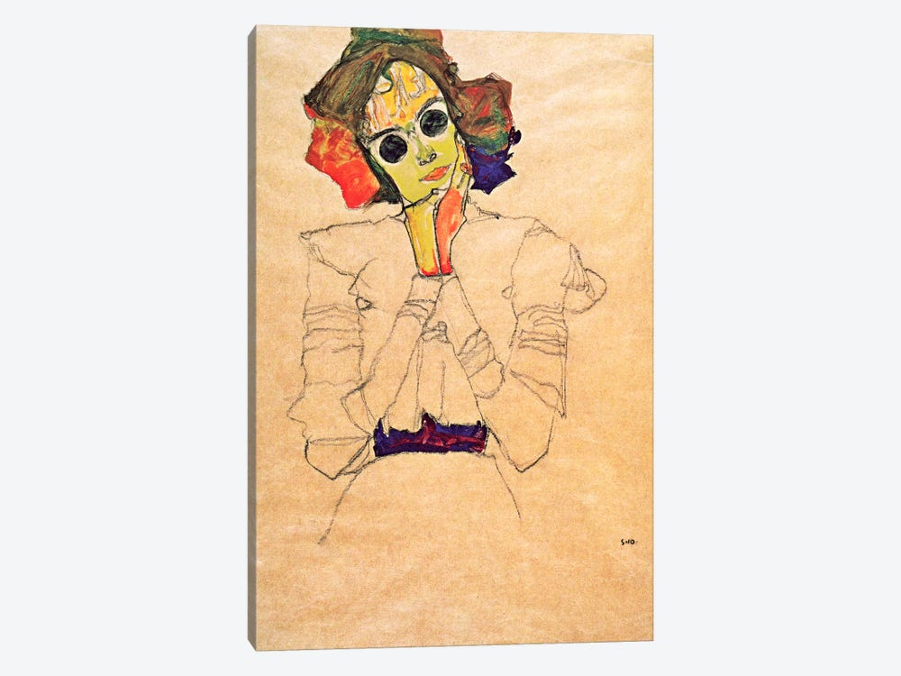 Girl with Sunglasses by Egon Schiele 1-piece Canvas Art