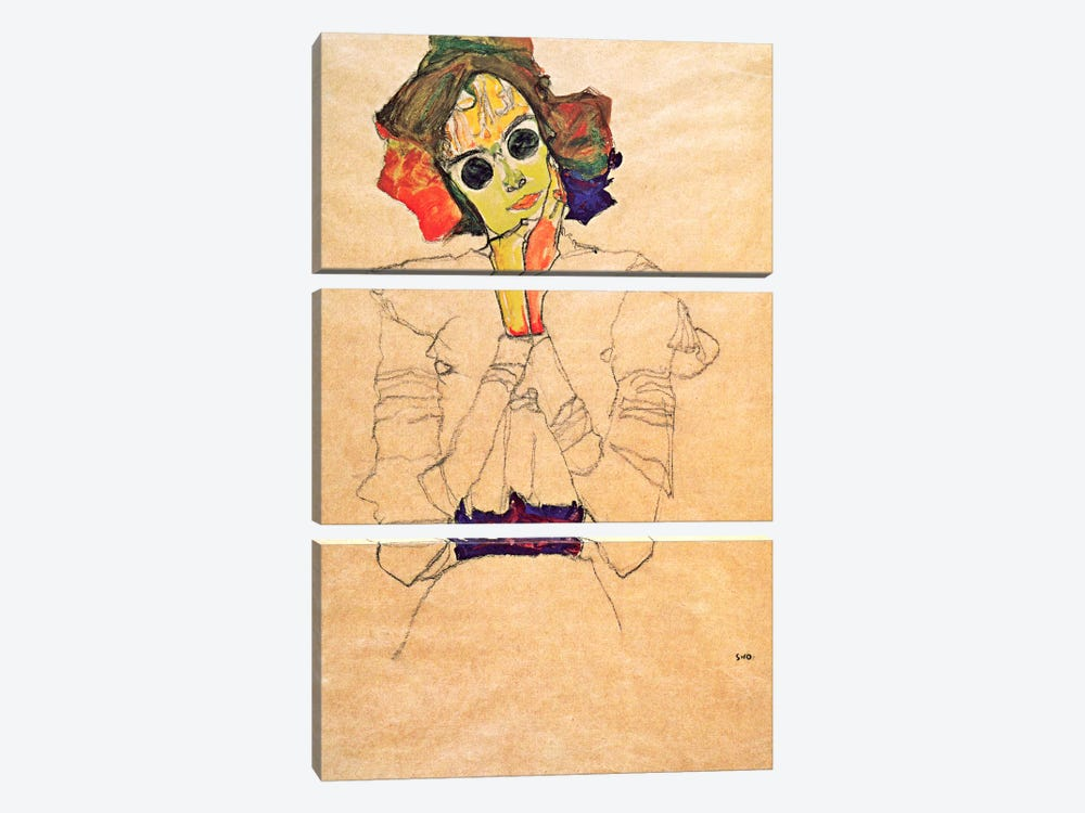 Girl with Sunglasses by Egon Schiele 3-piece Canvas Artwork