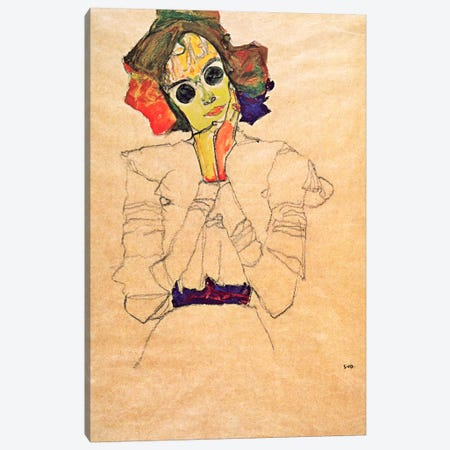 Girl with Sunglasses Canvas Print #8104} by Egon Schiele Canvas Artwork