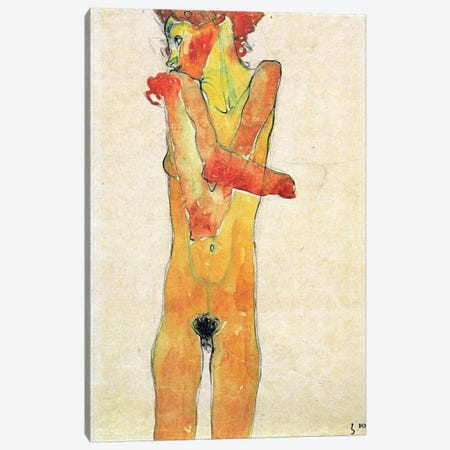 Nude Girl with Folded Arms Canvas Print #8106} by Egon Schiele Canvas Wall Art