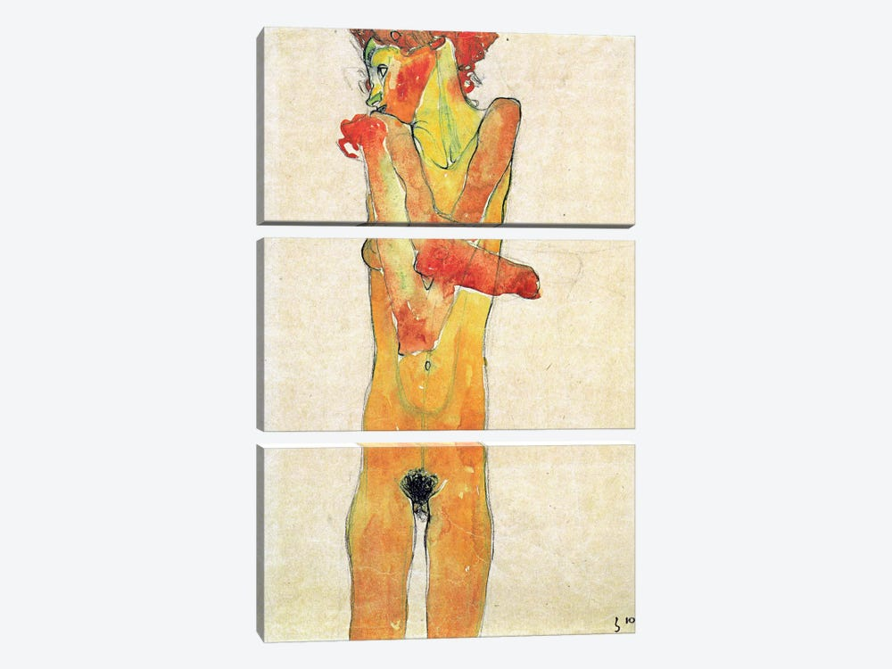 Nude Girl with Folded Arms by Egon Schiele 3-piece Canvas Artwork