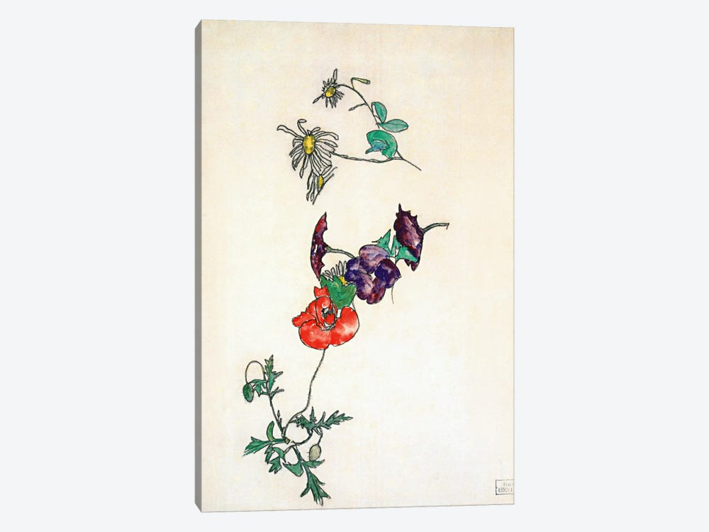 Daisies, Poppy and Winding by Egon Schiele 1-piece Canvas Art