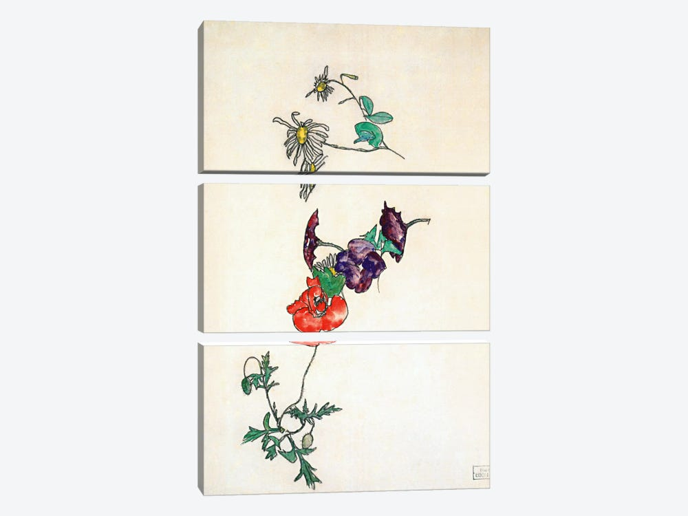 Daisies, Poppy and Winding by Egon Schiele 3-piece Canvas Art