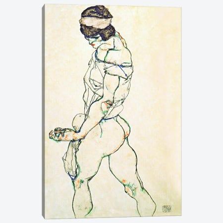 Left Border Female Nude Canvas Print #8116} by Egon Schiele Art Print