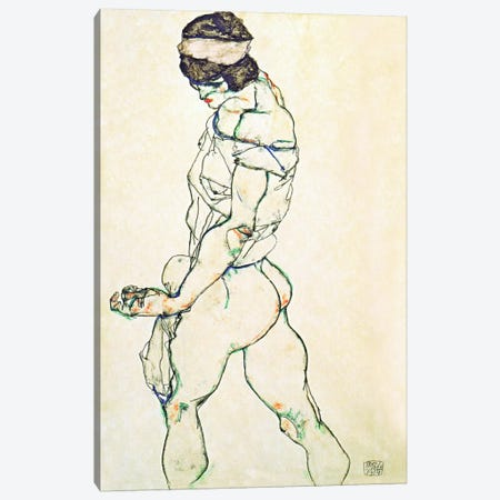 Left Border Female Nude Canvas Print #8116} by Egon Schiele Art Print