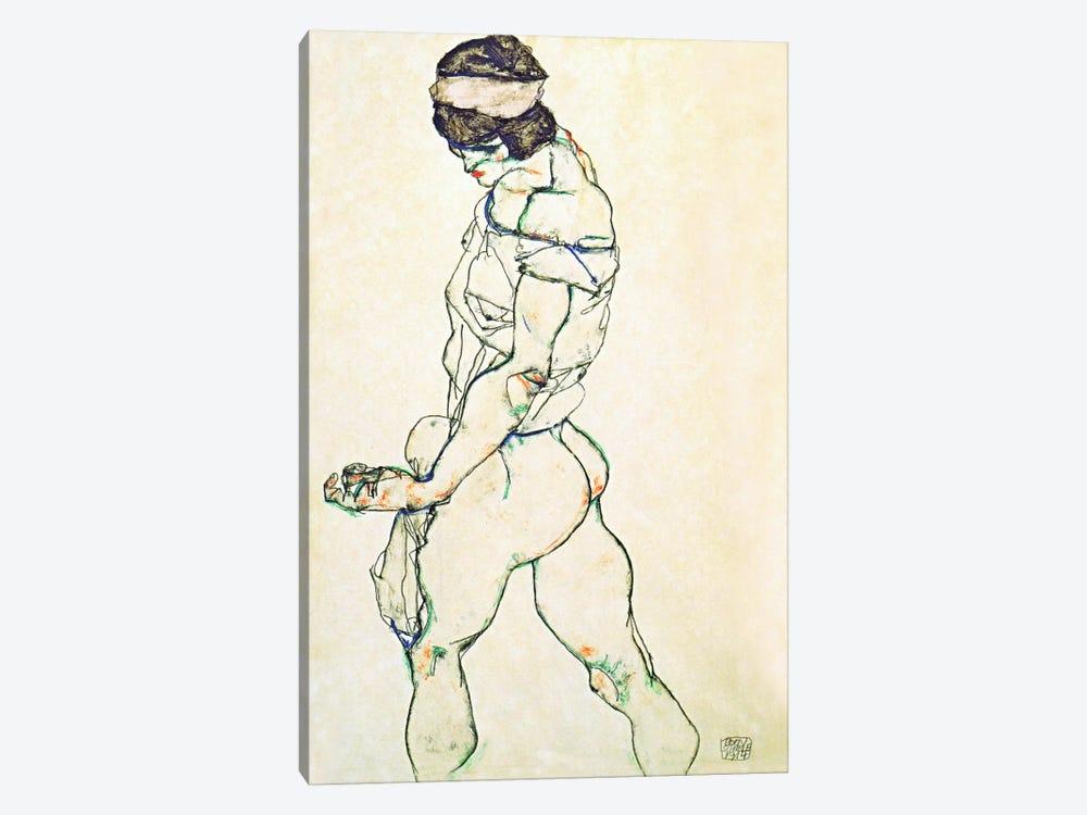 Left Border Female Nude by Egon Schiele 1-piece Canvas Art Print