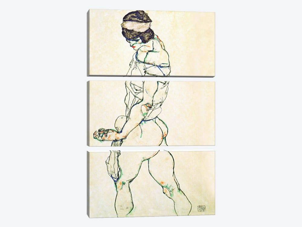 Left Border Female Nude by Egon Schiele 3-piece Canvas Print