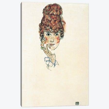 Portrait of Edith Schiele Canvas Print #8119} by Egon Schiele Canvas Artwork