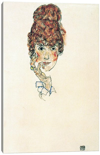 Portrait of Edith Schiele Canvas Print #8119