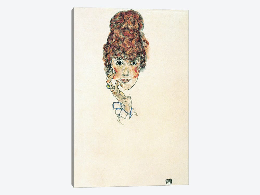 Portrait of Edith Schiele by Egon Schiele 1-piece Canvas Wall Art