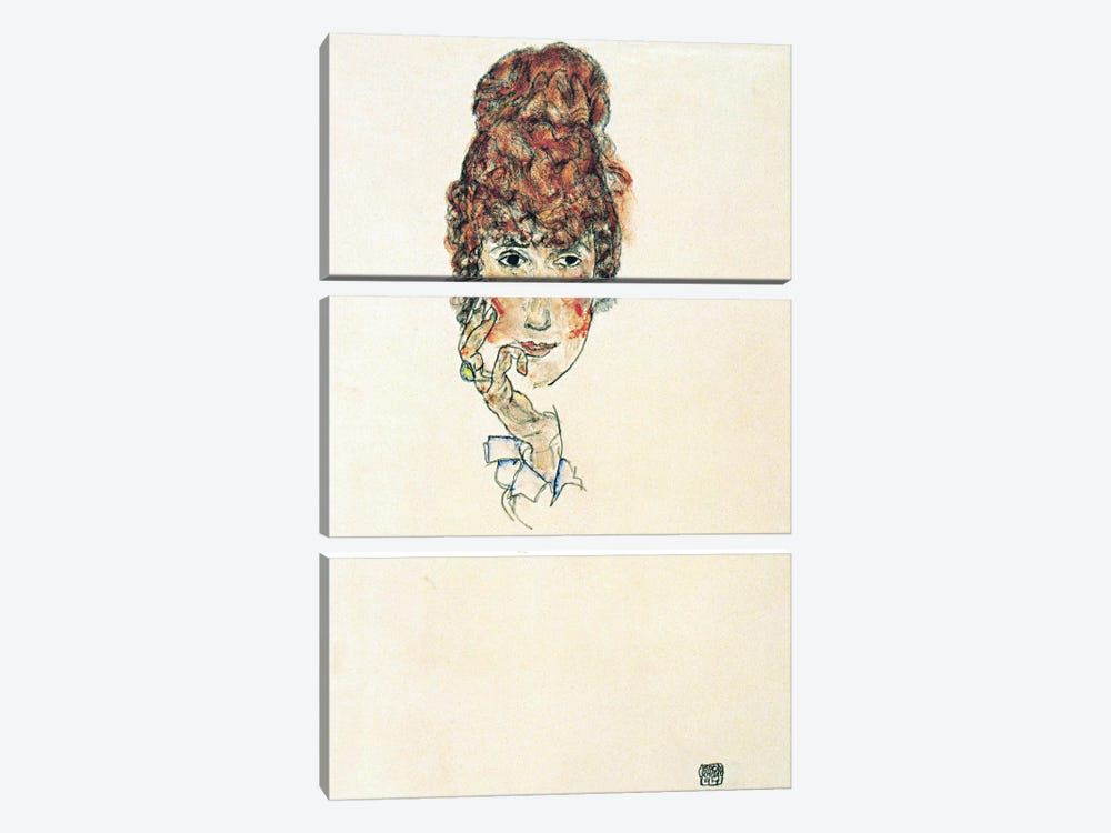 Portrait of Edith Schiele by Egon Schiele 3-piece Canvas Wall Art