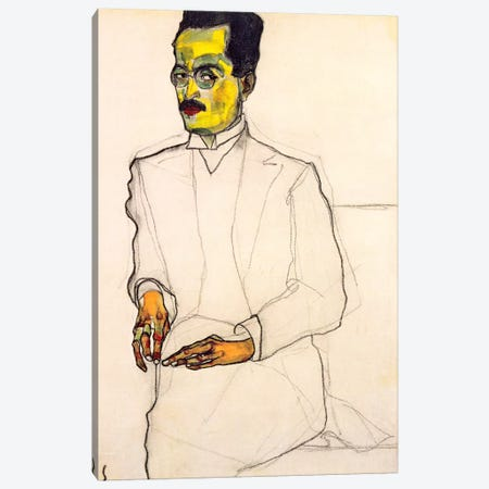 Portrait of a Gentleman Canvas Print #8120} by Egon Schiele Canvas Art Print