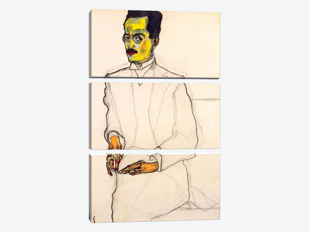 Portrait of a Gentleman by Egon Schiele 3-piece Canvas Artwork
