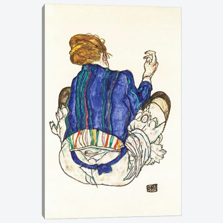 Seated Woman, Back View Canvas Print #8122} by Egon Schiele Art Print